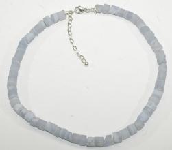 NaturChalcedon- Reifen Halskettemit 925er Silber Variabel Karabiner Verschluss