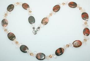 Wunderschöne Halskette Jaspis/Bergkristall Tropfen mit Swarovski Bicone