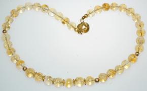 Honigfarbener Citrin-Halskette mit 925er Silbervergoldet Rin-Ring Verschluss