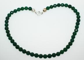 Moos Achat facettiert Halskette mit wunderschöne 925 Sterlingsilber Verschluss