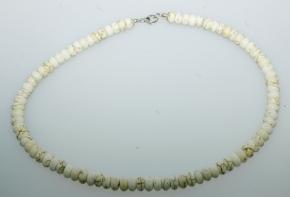 Howlith Halskette Natur Altweiß mit 925 Silber