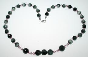 Falkenauge-Kugel Halskette mit Swarovski Perlen