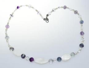 Perlmutt Halskette mit Fluorit Kugel und Süßwasser Perlen und 925 Silber Karabiner Verschluss