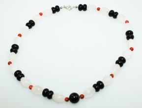 Rosenquarz-Onyx-Koralle Halskette mit925er Silber Karabiner Verschluss