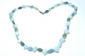 Blauer Opal-Halskette Oval und Würfel