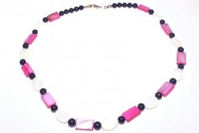 Edel Weiß/Rosa Perlmutt Halskette mit Lapislazuli