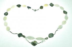 Edel Perlmutt Halskette mit Bergkristall und 925 Silber