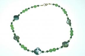 Edel grüne Perlmutt Halskette mit Süßwasserperlen und Aventurin