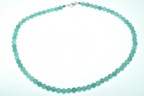 Achat Blau - Kugel Halskette mit 925 Sterlingsilber Karabiner Verschluss