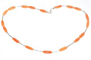 WunderschöneKoralle Halskette mit 925er Silber Teile