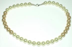 Wunderschöne Marfil Farbe Muschelkernperle Halskette mit 925 Silber