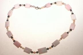 Perlmutt Halskette mitSüßwasser Perlen und 925 Silber Karabiner Verschluss