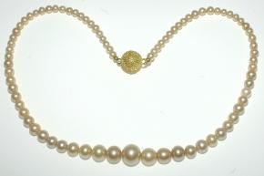 Halskette Perlen mit Magnet Verschluss vergoldet