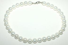 Wunderschöne Weiße Muschelkernperle Halskette mit 925 Silber