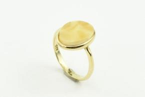 Bernstein Ring in 925er Sterling Silber vergoldet gefasst